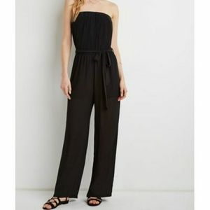 Forever 21 Chiffon Strapless Jumpsuit